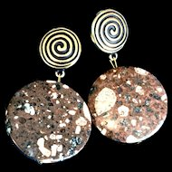 Brown Mica Quartz Clip-On Earrings, 1-3/8 Inches