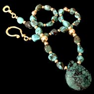 Chinese Turquoise and Gold Fill Necklace, 20 Inches