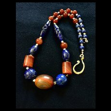 Dzi Bead Necklace of Agate, Carnelian and Lapis Lazuli, 23-1/4 Inches