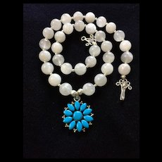 Moonstone Necklace with Turquoise Pendant, 18 Inches