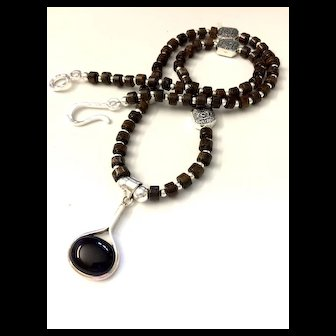 Artisan Necklace of Bronzite Heishi and Sterling Silver with Black Onyx Pendant, 19-3/8 Inches