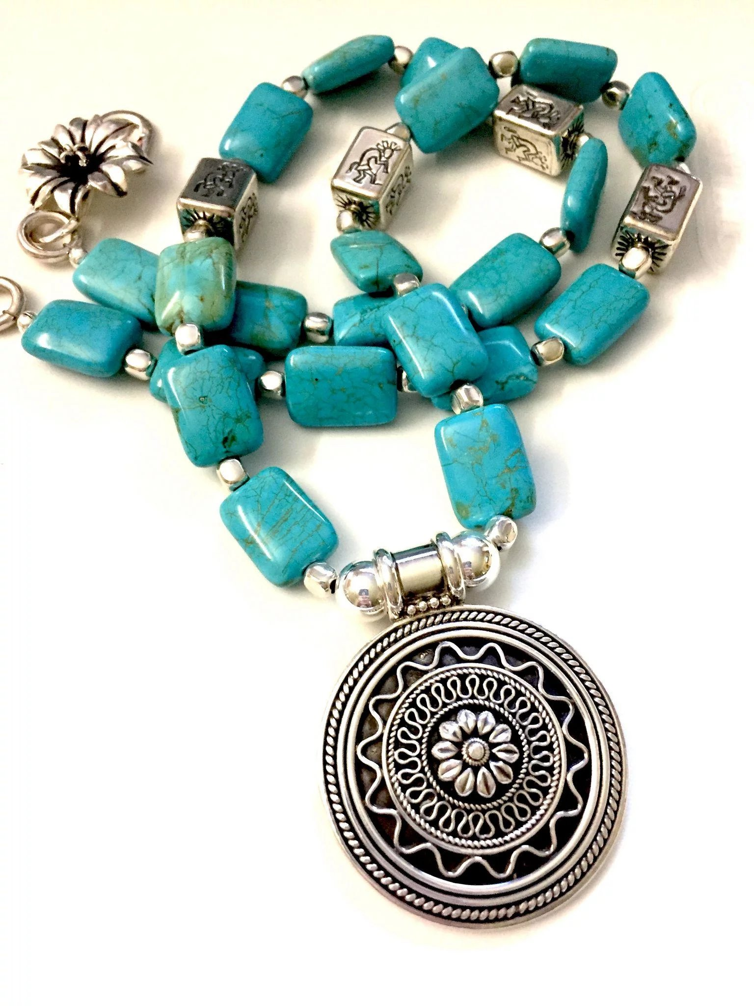 Artisan Necklace of Chinese Turquoise and Sterling Silver ...