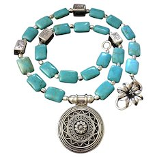 Artisan Necklace of Chinese Turquoise and Sterling Silver with Sterling Pendant, 25-1/2 Inches