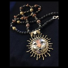 Custom Artisan Necklace of Brass, Copper and Lava Rock with Sunburst Pendant, 42 Inches