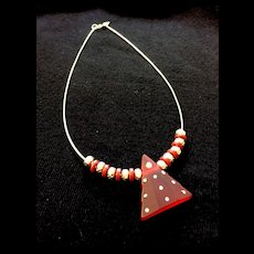 Red Christmas Tree Artisan Necklace of Glass and Sterling Silver, 18 Inches