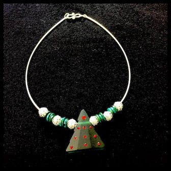 Green Christmas Tree Artisan Necklace of Glass and Sterling Silver, 16 Inches