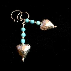 Sleeping Beauty Turquoise and Sterling Silver Heart Earrings, 2-1/2 Inches