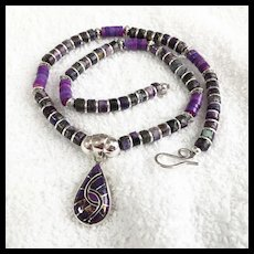 Purple Teardrop Heishi Necklace, 18 Inches