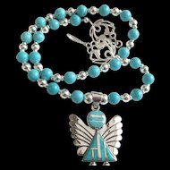 Southwest Angel Necklace of Turquoise and Sterling Silver,  21 Inches