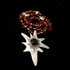 Artisan Necklace of Baltic Amber and Sterling Silver, 23-1/2 Inches