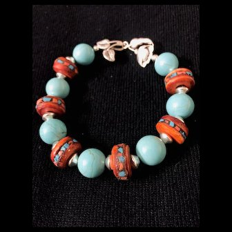 Artisan Bracelet of Turquoise, Yak Bone and Sterling Silver, 8 Inches