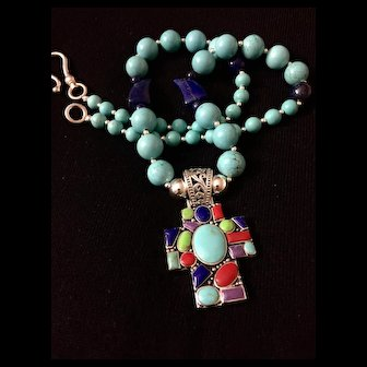 Artisan Gemstone Cross Pendant Necklace with Turquoise and Lapis, 23-1/2 Inches