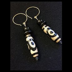 Artisan Earrings of Tibetan Old Agate Dzi Beads and Black Onyx, 2-3/4 Inches