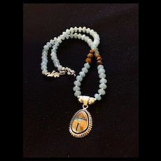 Artisan Necklace of Aquamarine Heishi with Native American Style Pendant, 16-3/4 Inches
