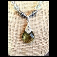 Prasiolite and Sterling Silver Necklace, 20 inches