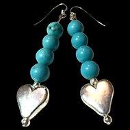 Turquoise & Sterling Silver Heart Earrings