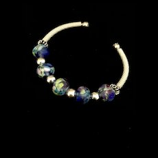 Blue Lampwork and Sterling Silver Bracelet, 8 Inches