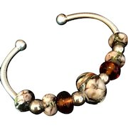 Amber and Peach Lampwork and Sterling Silver Bracelet, 7 Inches