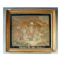 """Antique Georgian Period Framed Tapestry Embroidery On Silk """"Children Dividing Fruit"""" dated 1801"""