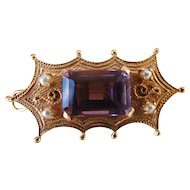 Victorian Etruscan 14k Gold Amethyst Seed Pearls Brooch Pendant