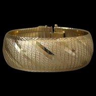 "Estate 14K Gold 7/8"" Wide Bangle Cuff Style Bracelet"