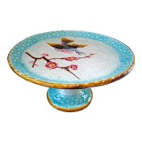 Antique Majolica Bird Compote att. Eureka Pottery Co
