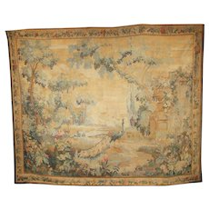 Antique Flemish Verdure Tapestry with Peacock and Urn c1820