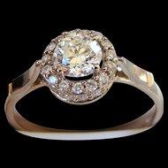 Brilliant Cut Diamond 14KT White Gold Engagement Ring
