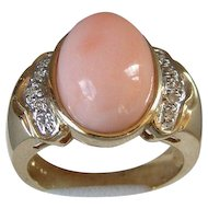 Estate Cabochon Coral and Pave Diamonds 14KT Gold Ring