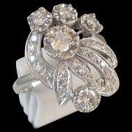 Estate Diamond and 14 Kt White Gold Ring 0.96 carat