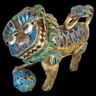 Chinese Silver and Enamel Foo Dog with Ball