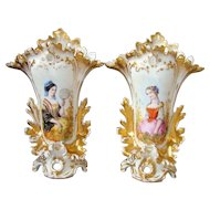 Pair Antique French Old Paris Porcelaine Vases Hand Painted Woman Portraits