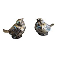 Alexandre VAGUER: Antique French Sterling Silver Figural Baby Birds Salt and Pepper Shakers
