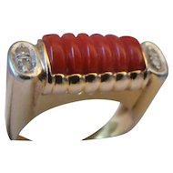 Carved Oxblood Red Mediterranean Coral 14K 585 Gold and Diamonds Ring