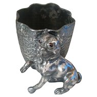 Antique Figural Bulldog  Glass Eyes Toothpick Holder Rogers Brothers Silver Plate 2304