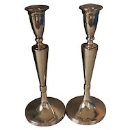Pair Tall Art Deco Period Polish Silver Candlesticks Warsaw c1920's