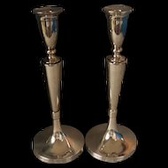 Pair Tall Art Deco Period Polish Silver Candlesticks Warsaw c1920's