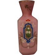 Antique Cased Opaline Opalescent Satin Glass Vase with Enamel Painting c 1880