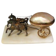 Palais Royal Paris Figural Ormolu Two Horses Carriage Mother-of-Pearl Ring Box or Thimble Holder Grand Tour c1880