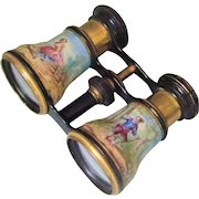 Antique French HP Enamel Opera Glasses Binoculars Palais Royal Vantier