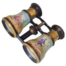Antique French HP Enamel Opera Glasses Binoculars Palais Royal Vantier