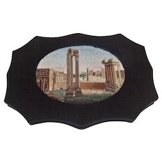 Antique Micro mosaic Paperweight Grand Tour Roman Forum Ruins