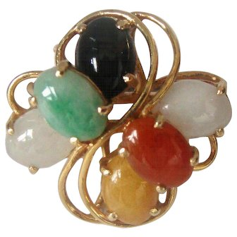 Vintage Multi-Color Jade 14K  Gold Ring