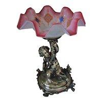 Antique Christofle Silver on Bronze Cherub Centerpiece Brides Basket 1880