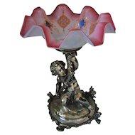 Antique Christofle SP Bronze Cherub Centerpiece Brides Basket
