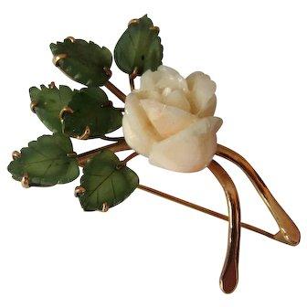 Vintage 14K Gold Carved Angel Skin Coral Rose and Jade Leaves