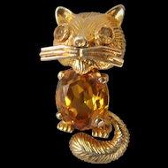 Estate 18K Gold and Citrine Cat brooch