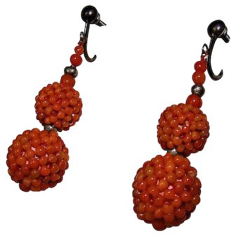 Pair of  Antique Red Woven Mediterranean Coral and Silver Earrings