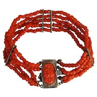 Antique Mediterranean Dark Red Coral with Carved Cherub Cameo Silver Clasp As Is