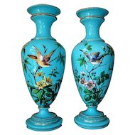 Pair Antique Opaline Glass Vases with Enamel Birds & Flowers